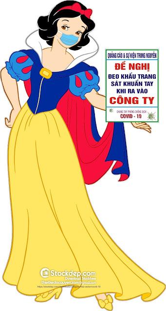 vector công chúa bạch tuyết phòng chống Coronavirus file Corel