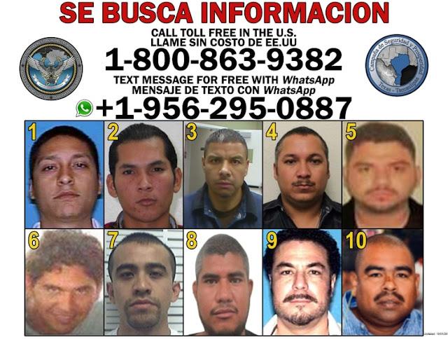 """La lista de capos mas peligrosos en la frontera Juan Gerardo Treviño Chávez, alias """"El Huevo"""" es el líder 2 millones por su cabeza"""