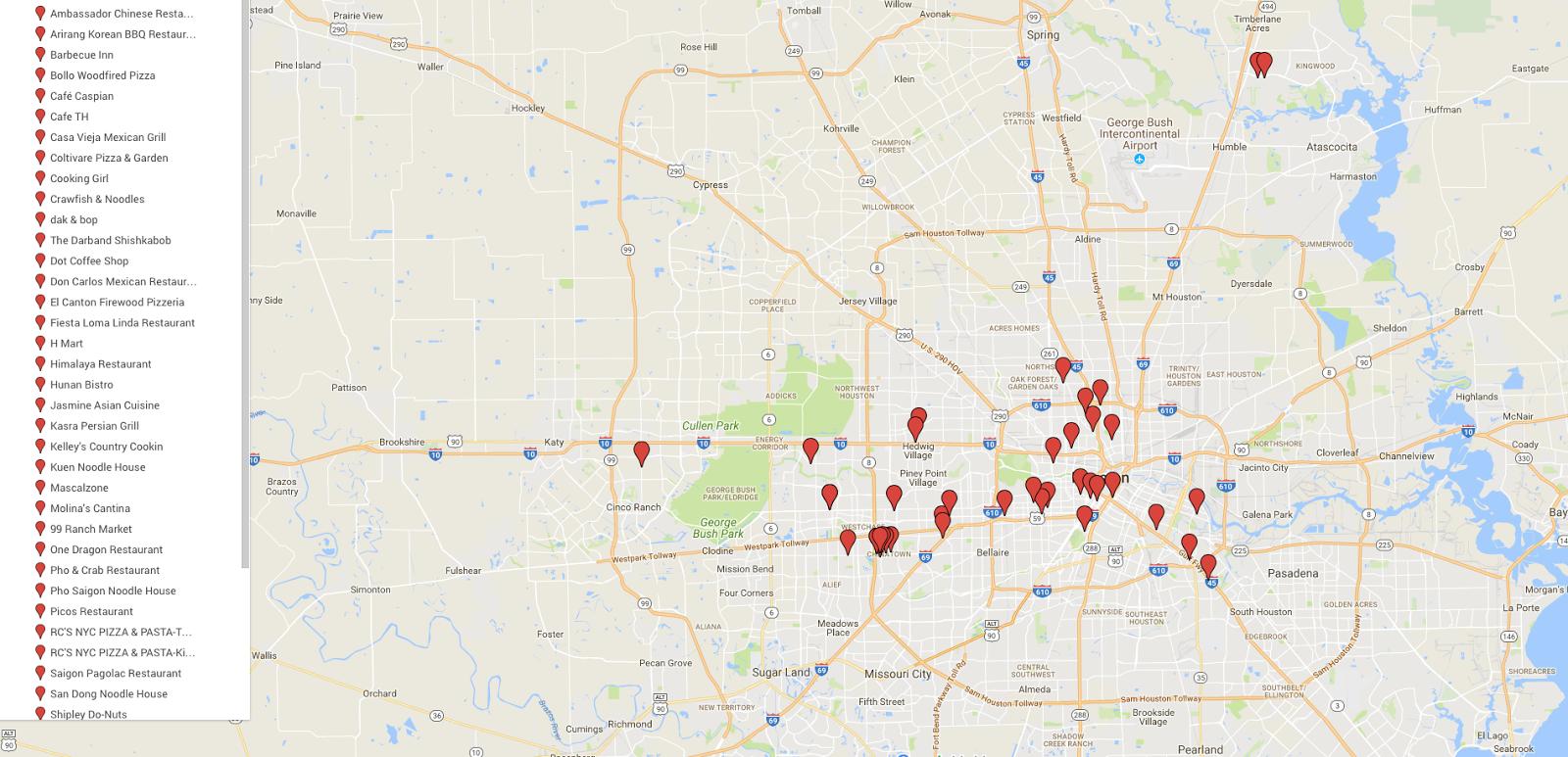 47346f17 Houston Food Explorers: Houston Restaurants - Map for my Favorite ...
