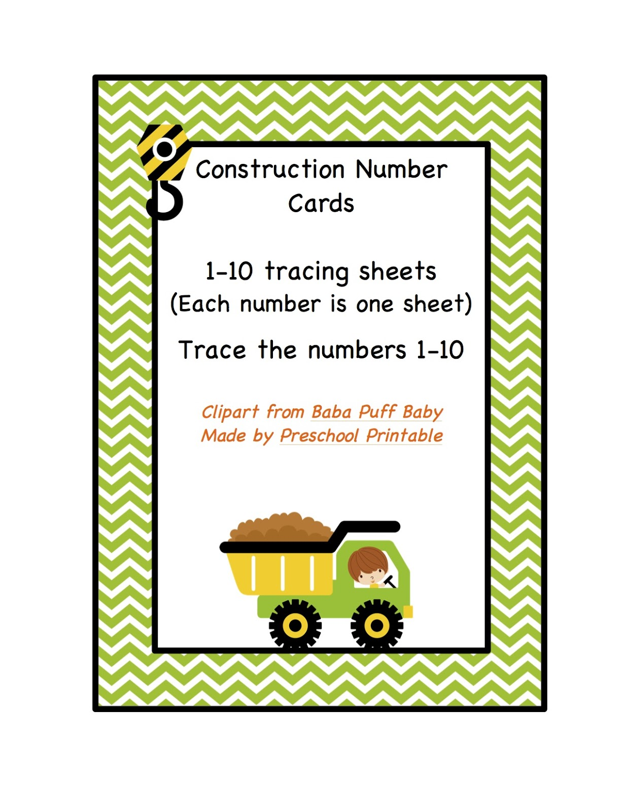 Construction Number Tracing Printable Preschool Printables