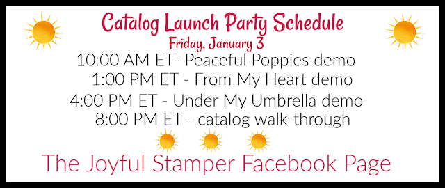 Stampin' Up! Mini and Sale-A-Bration catalog launch party schedule | January 3 | The Joyful Stamper Facebook page
