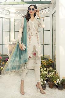 Maria B winter white color printed dress