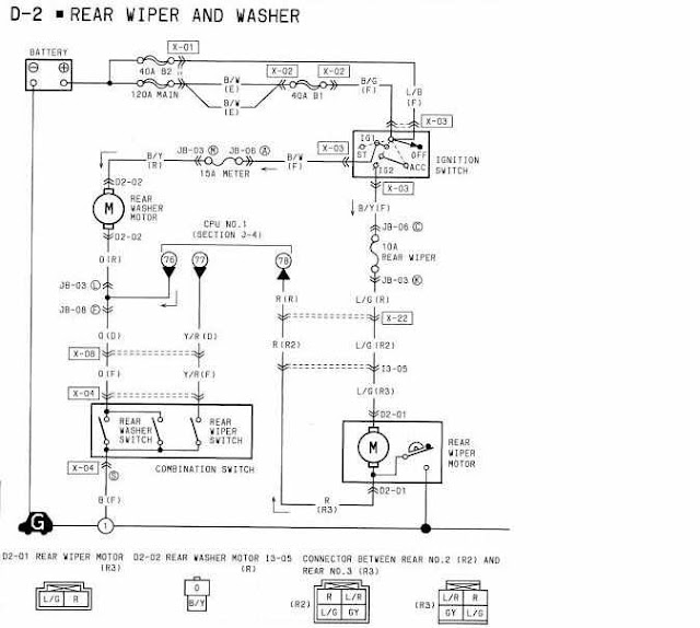 1994 Mazda RX7 Rear Wiper and Washer Wiring Diagrams