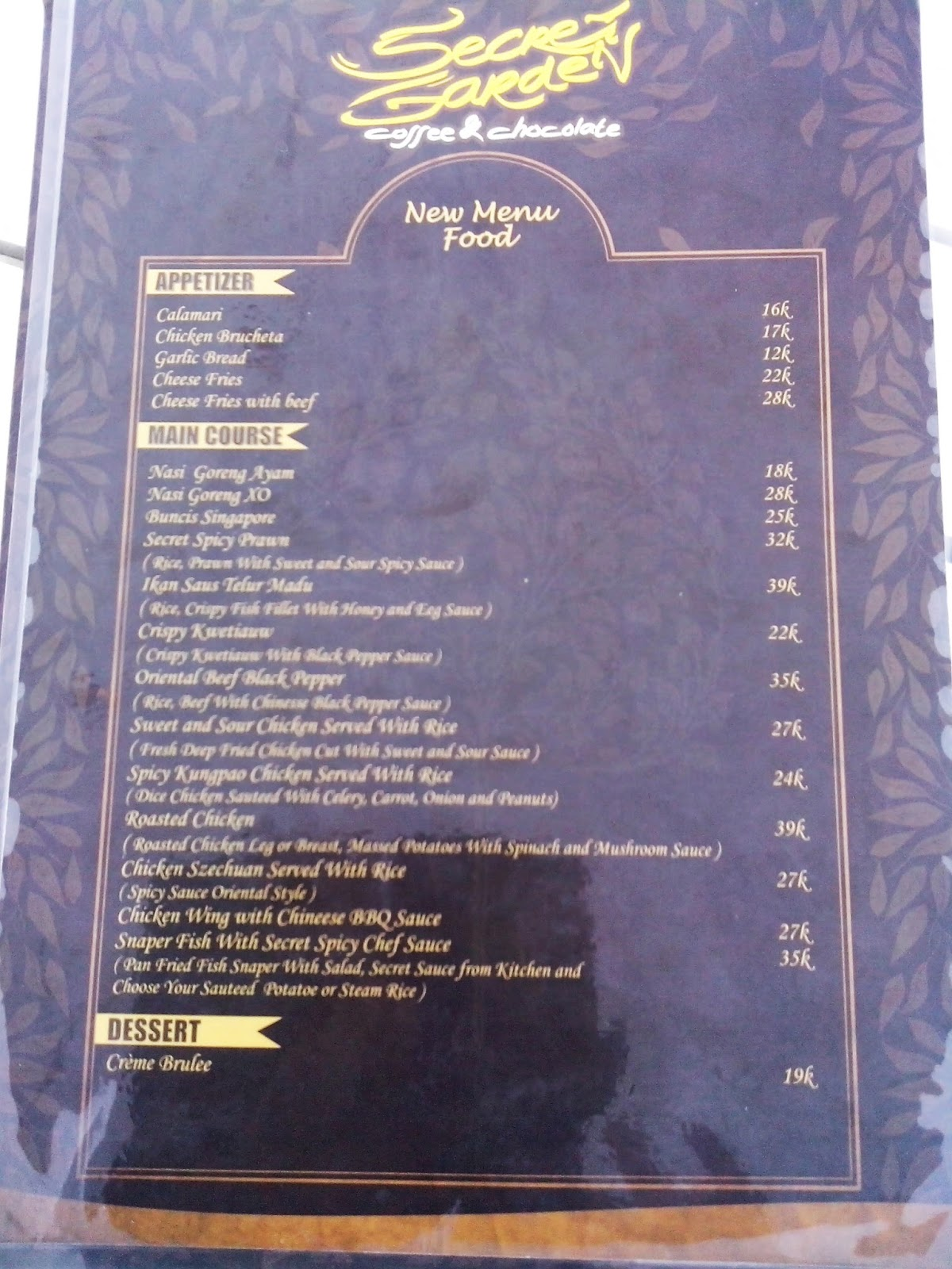 Menu Secret Garden Jogja - 1