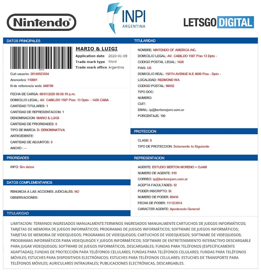 new mario and luigi name trademark nintendo video game mobile switch console