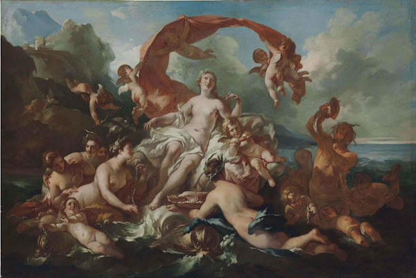 The Birth Of Venus by Pierre Jacques Cazes, Classical mythology, Greek mythology, Roman mythology, mythological Art Paintings, Myths and Legends