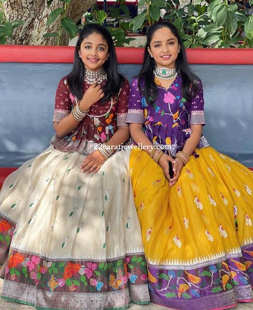 Manchu Vishnu Daughters Uppada Silk Lehengas