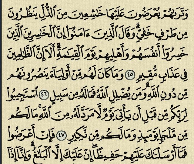 شرح وتفسير سورة الشورى surah Ash-Shura (من الآية 45 إلى الآية 53 )