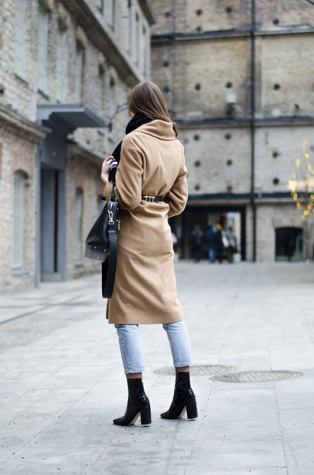 kristjaana mere camel coat patent boots outfit