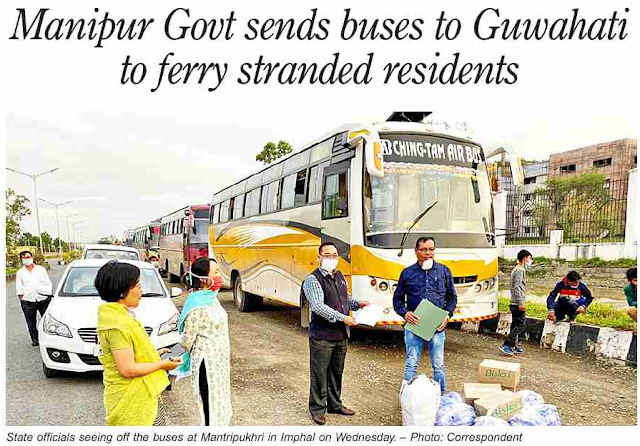 Manipur Government sent four buses to bring back 84 stranded passengers belonging to the State