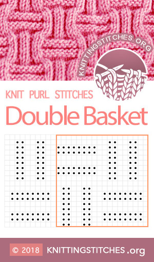 Double Basket Weave Chart. Multiple of 18 sts, plus 10. Techniques used: Knit & Purl.  #knitpurl #knitting #easytoknit