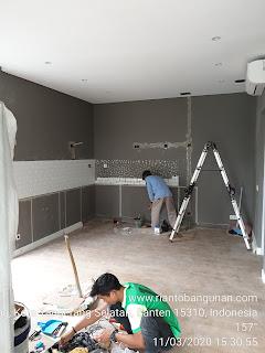 Pasang Keramik Meja Dapur dan Perbaikan Parkit