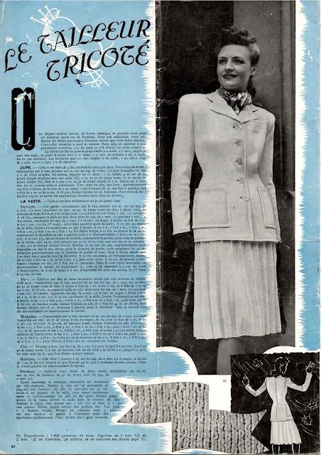 magazine mode et travaux octobre 1942 le tailleur tricoté