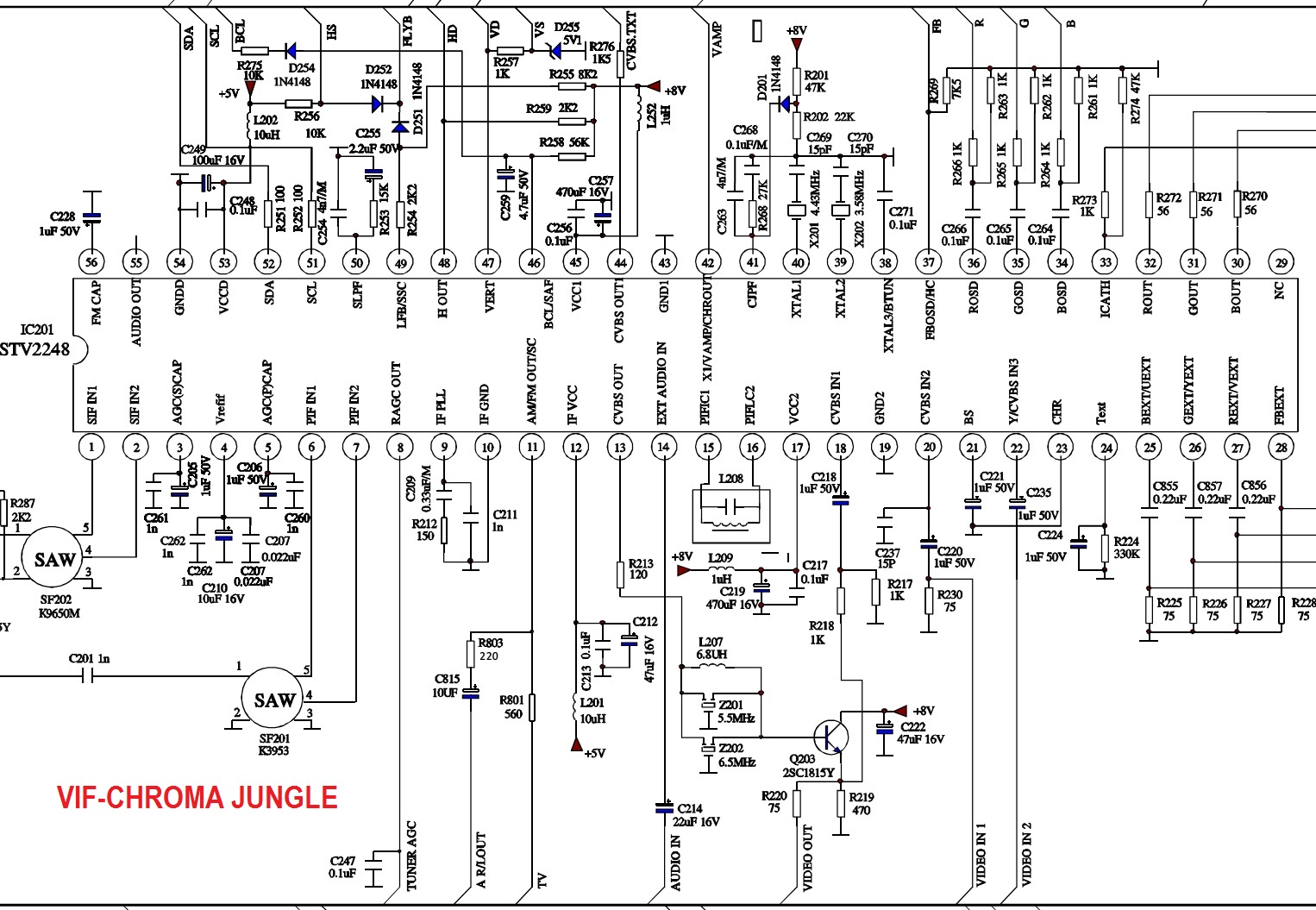 schematic diagram jvc av 27d305 color tv