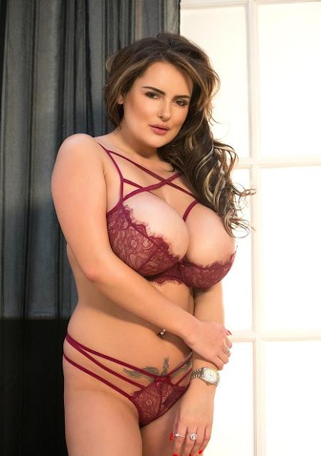 Katie Thornton big boobs sexy red bikini pics