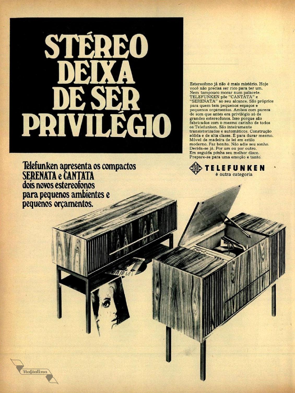 Propaganda antiga do aparelho de som com toca discos da Telefunken apresentando em meados dos anos 60