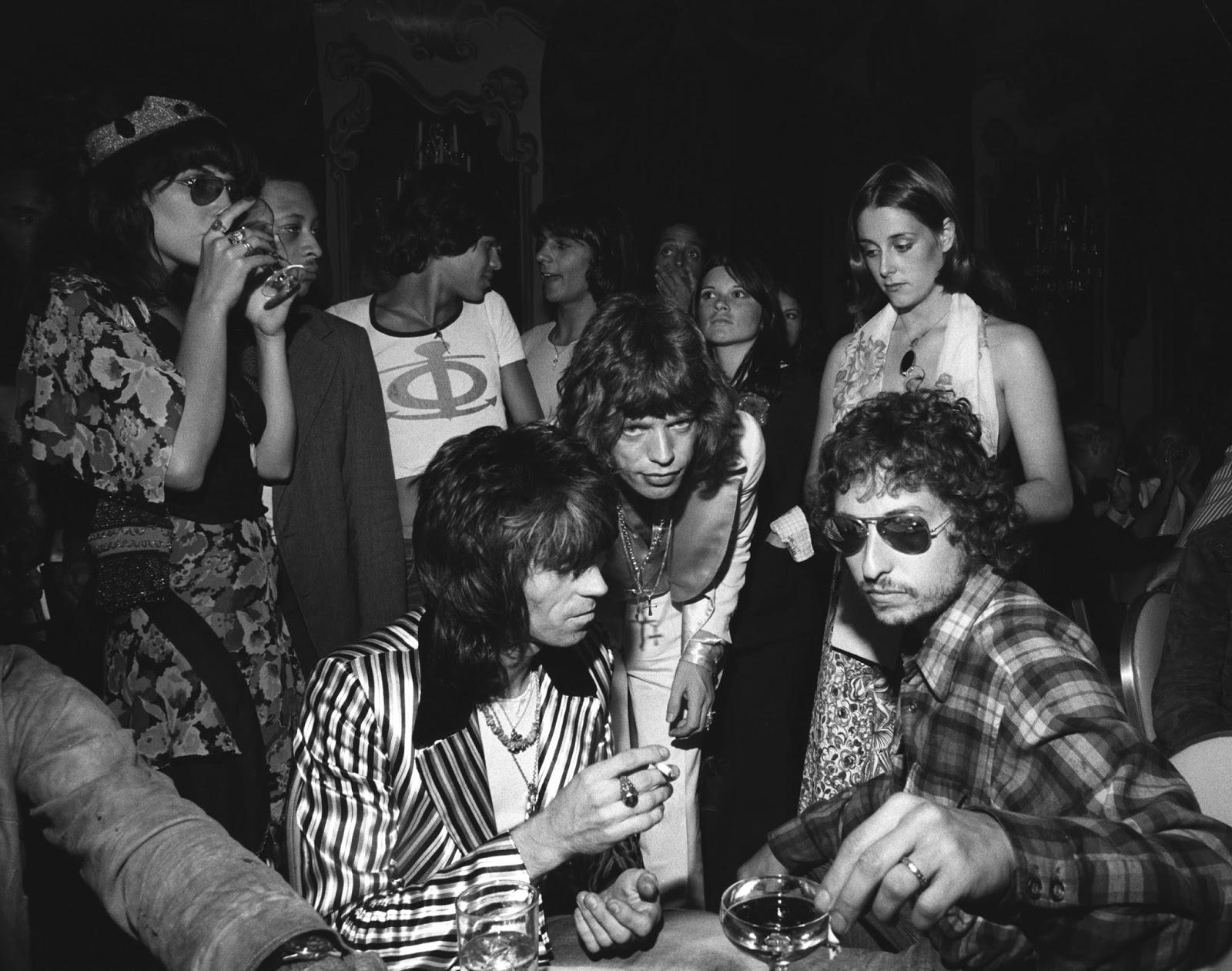 Bob Dylan Mick Jagger and Keith Richards at Jaggers 30th birthday