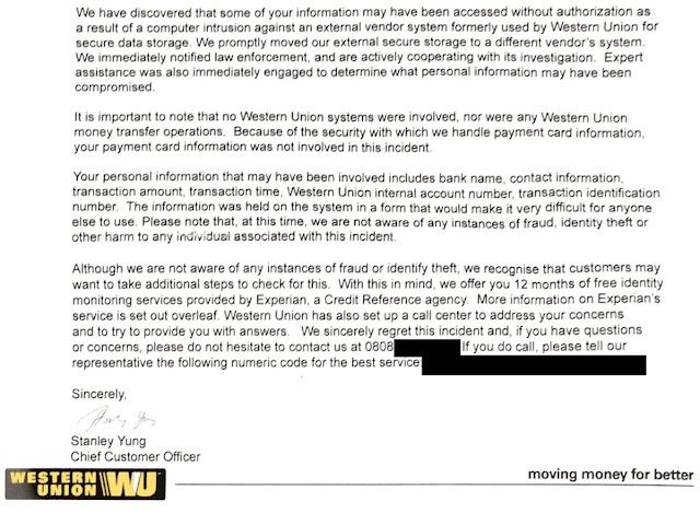 Western Union Money Transfer, Hacked