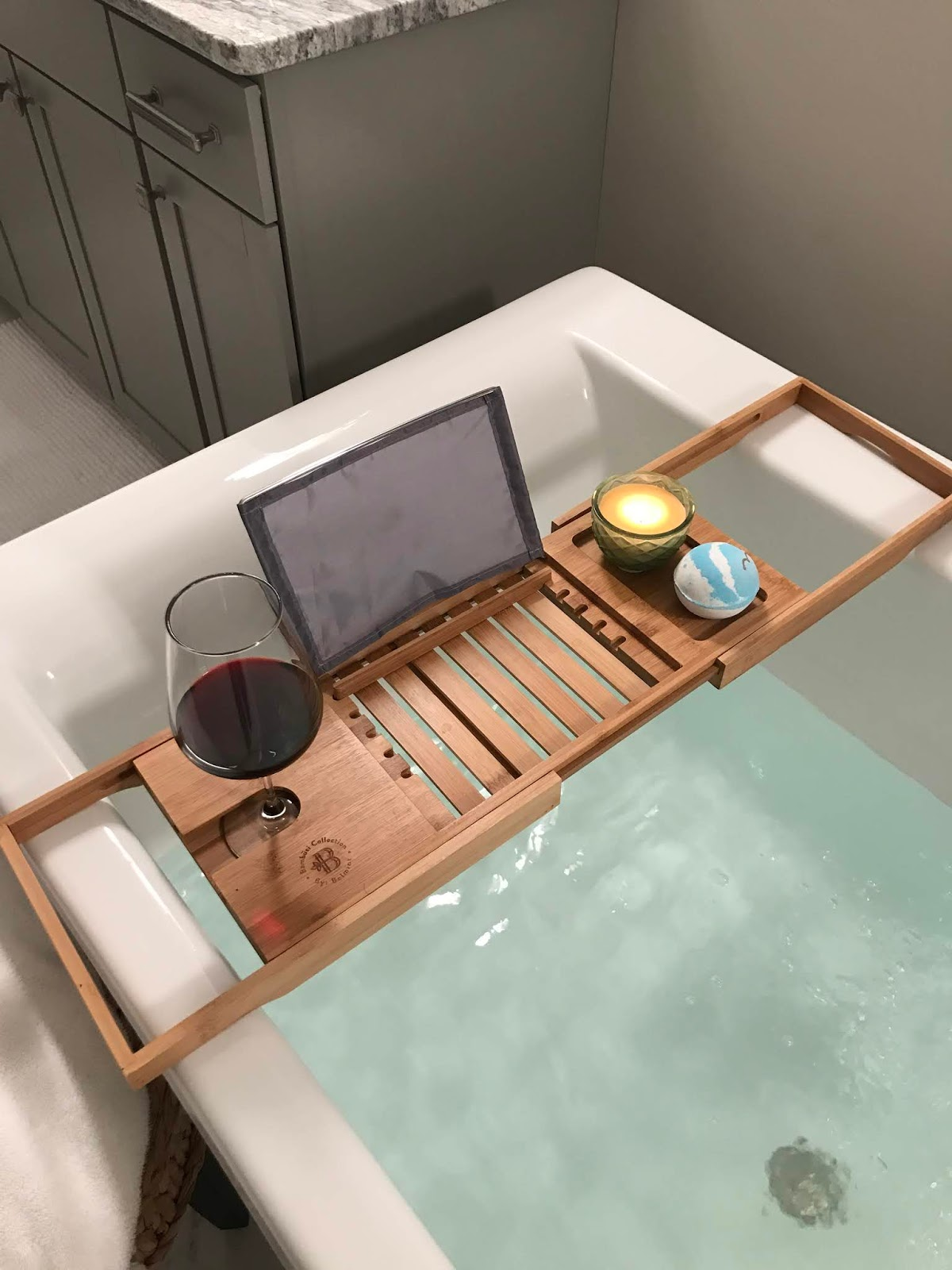 wood bath tray with wine glass holder