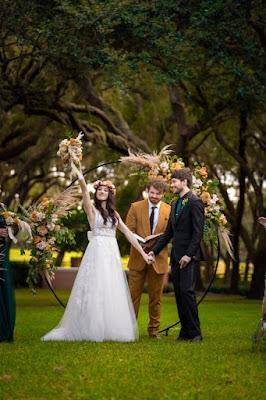 happy bride in ceremony