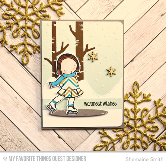 Handmade card from Shemaine Smith featuring Pure Innocence Ice Skater stamp set and Die-namics and Stitched Mountain Range, Birch Trees and Oval Shadows Die-namics , Snowfall stencil #mftstamps