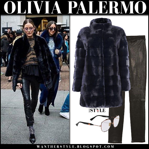 Olivia Palermo in black fur coat cara mila and black leather pants j brand fashion week outfits february 2018