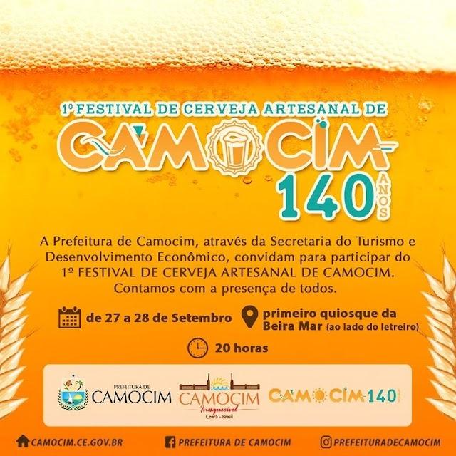 Camocim realizará seu 1º Festival da Cerveja Artesanal nos dias 27 e 28 de setembro