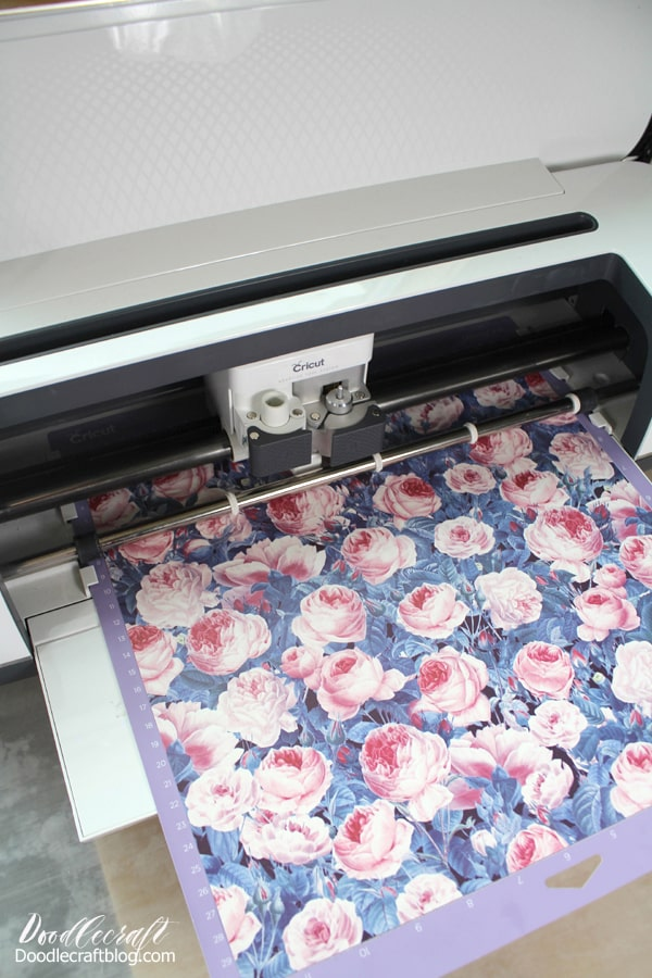 Cricut infusible ink transfer in cabbage rose on the cricut mat being cut with the Cricut Maker.