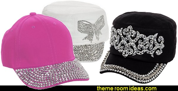 Rhinestone Studded caps  Fashion style clothing - cute designs - modern woman dress style - pretty fashion vintage style - fashion boutique - dresses - tops - jackets -  jeans - pants - party dress - womens clothes - girls clothes - Scarf necklace - decorate yourself