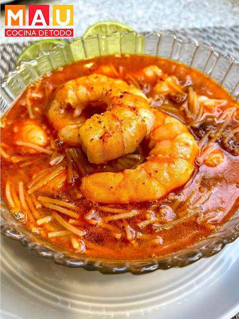 mau cocina de todo recetas sopa de fideo con camarones chorizo caldo