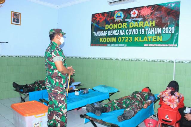 Dandim 0723/Klaten Letkol Kav Minarso,S.I.P Mengecek pelaksanaan Donor Darah