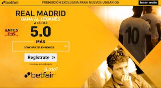 betfair supercuota 5 Real Madrid gana Leganes Liga 5 abril