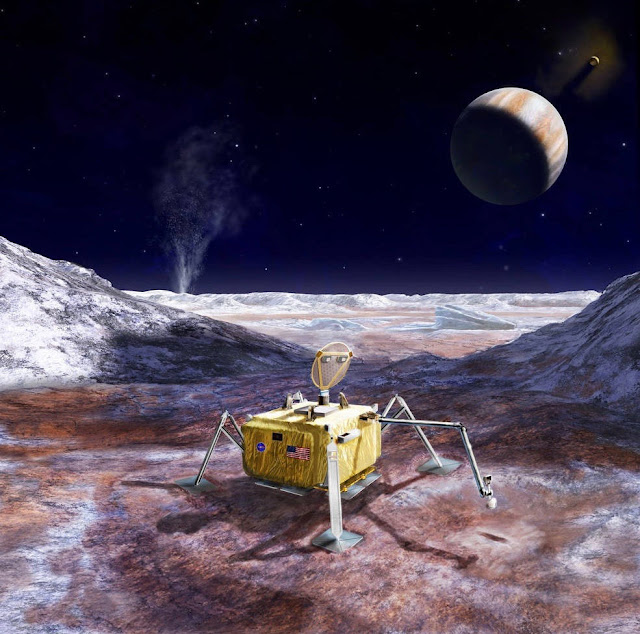 ilustração de pousador na superfície da lua Europa, de Júpiter