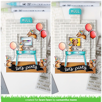 Virtual Birthday Card by Samantha Mann for Lawn Fawn, Interactive, Magic Picture Changer, Birthday Card, Cards, Birthday, Cardmaking, Distress Inks, Virtual Friends, Virtual Birthday, #lawnfawn #magicpicturechanger #cards #cardmaking #interactive #birthday #birthdaycards #youtube #video #diycards