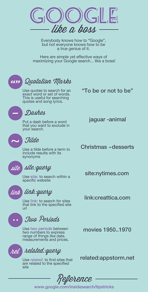 Google Search Tips and Tricks Infograph