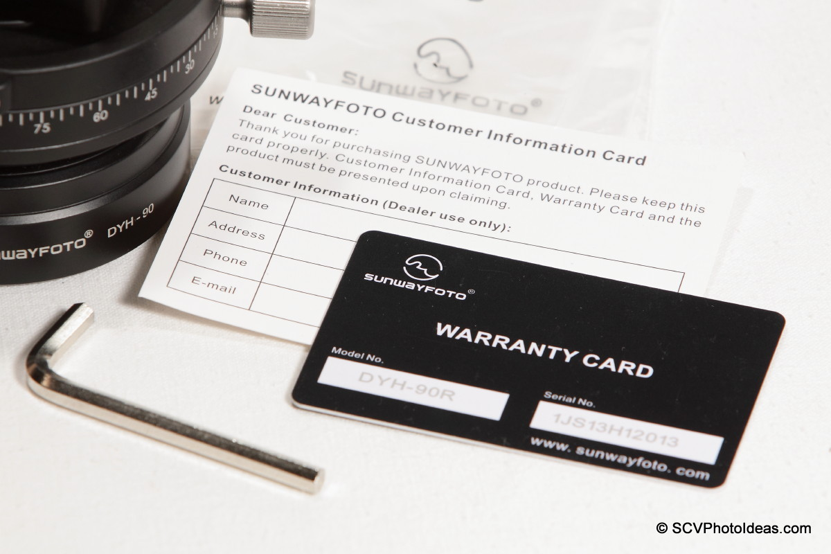 Sunwayfoto DYH-90R warranty & customer cards + hex key