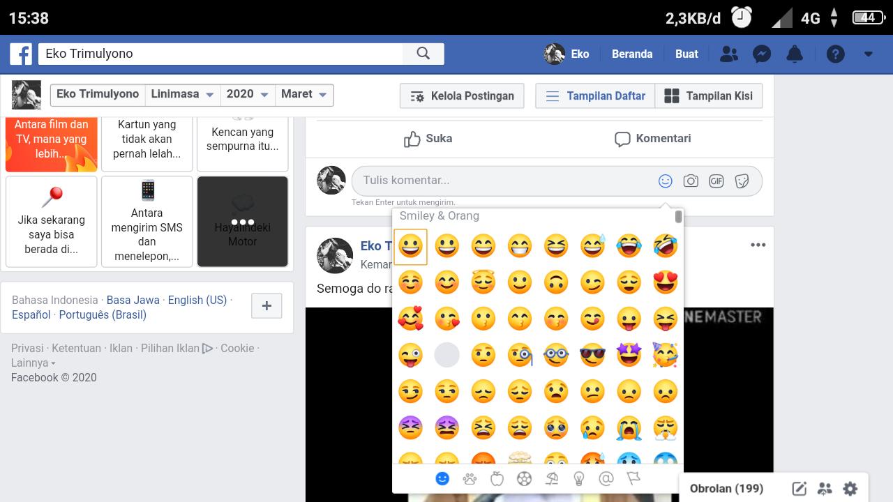 Cara menampilkan emoticon di komentar fb