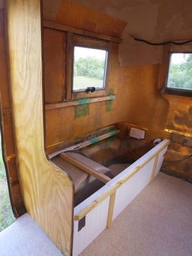 partial bench in fiberglass trailer