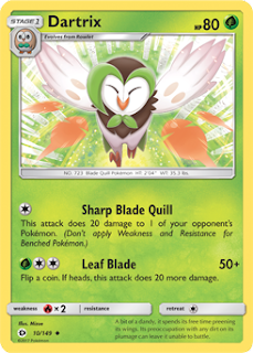 Dartrix Sun and Moon Pokemon Card