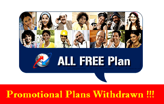 After launching new Unlimited Voice & Data packs, BSNL withdrawn All Free Prepaid Mobile plans
