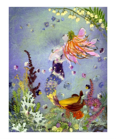 purple mermaid fairy flying through flower garden