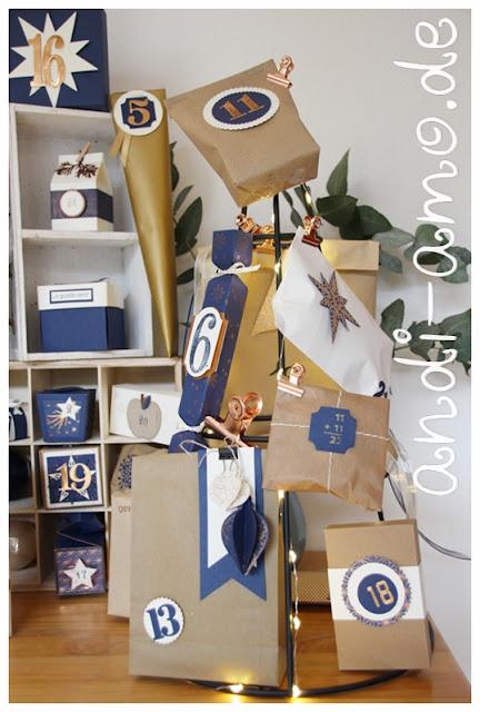 Adventskalender selbstgemacht Blau Vanille Kupfer