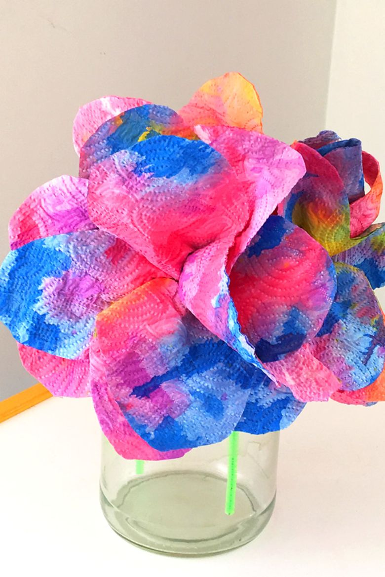 paper towel flower painting ideas for kids