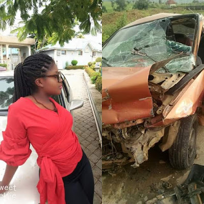 Female Corper Escapes Death As Her Car Gets Crushed (Photos)