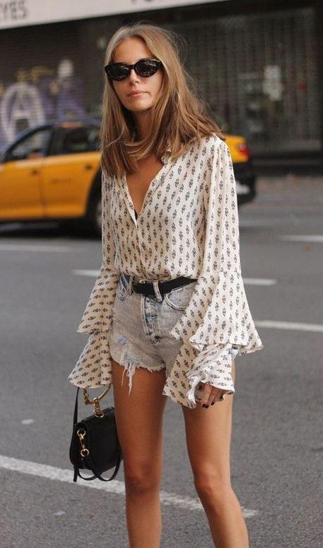 fashion trends / printed ruffle blouse + bag + denim shorts
