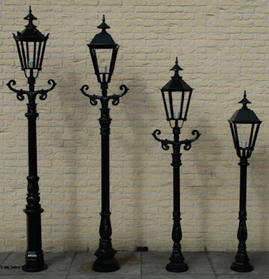 lampu besi tempa, lampu antik, tiang antik