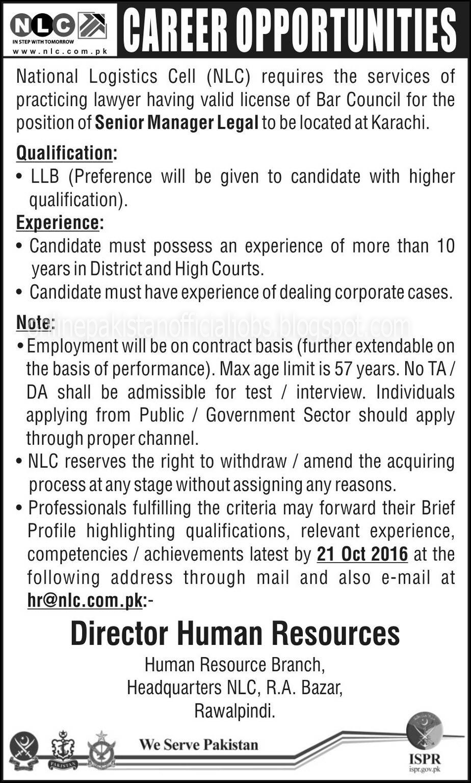 Senior Manager job in  National Logistics Cell for Legal