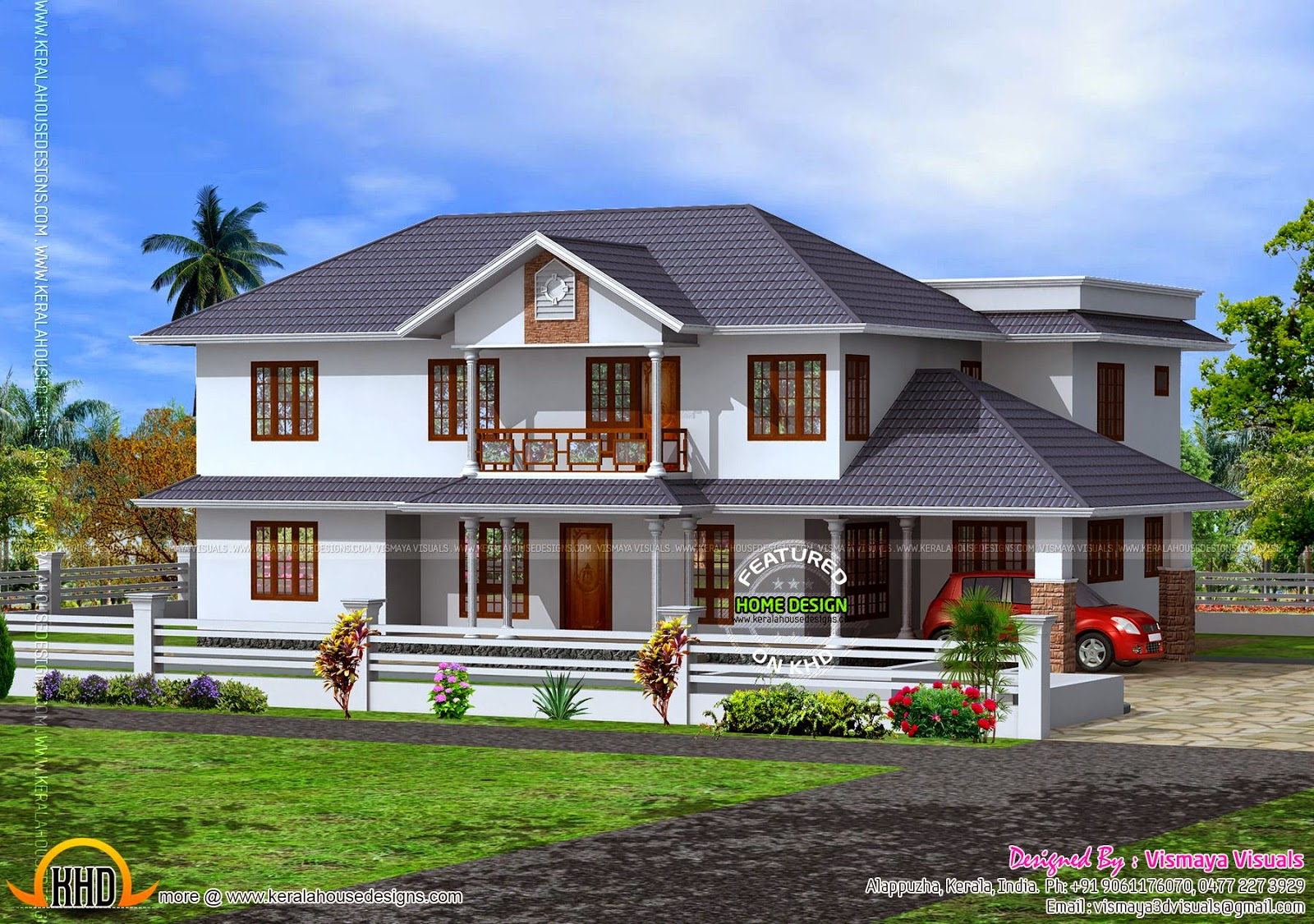 237 square meter sloping roof house kerala home design for Slanted roof house plans