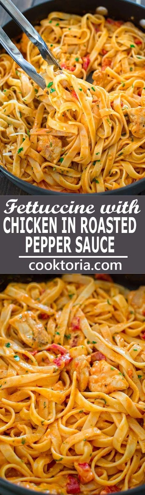 FETTUCCINE WITH ROASTED PEPPER SAUCE #fettuccine #roastedpepper #sauce #pasta #pastarecipes #easypastarecipes