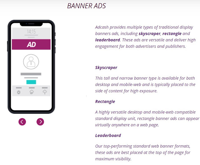 Adcash banner ad network
